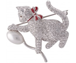 Rhodium Plated Metal Alloy, Austrian Crystal And Pearl Cat And Balloon Brooch