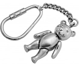 Small Movable Teddy Bear Key Ring Sterlng Silver