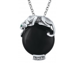Onyx Panther Pendant On Chain Sterling Silver