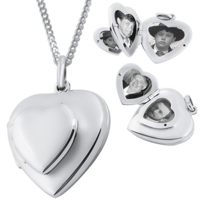 Four Part Heart Locket On Chain Sterling Silver