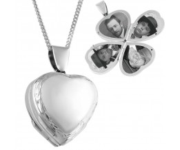Victorian Four Part Heart Locket On Chain Sterling Silver