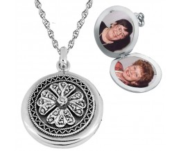 Marcasite Round Locket On Chain Sterling Silver