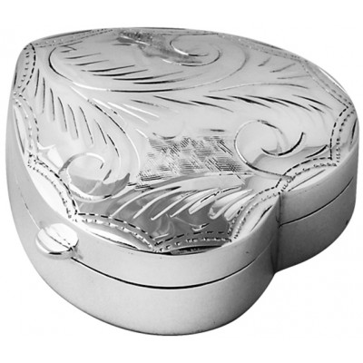Sterling Silver Medium Engraved Heart Hinged Pill Box