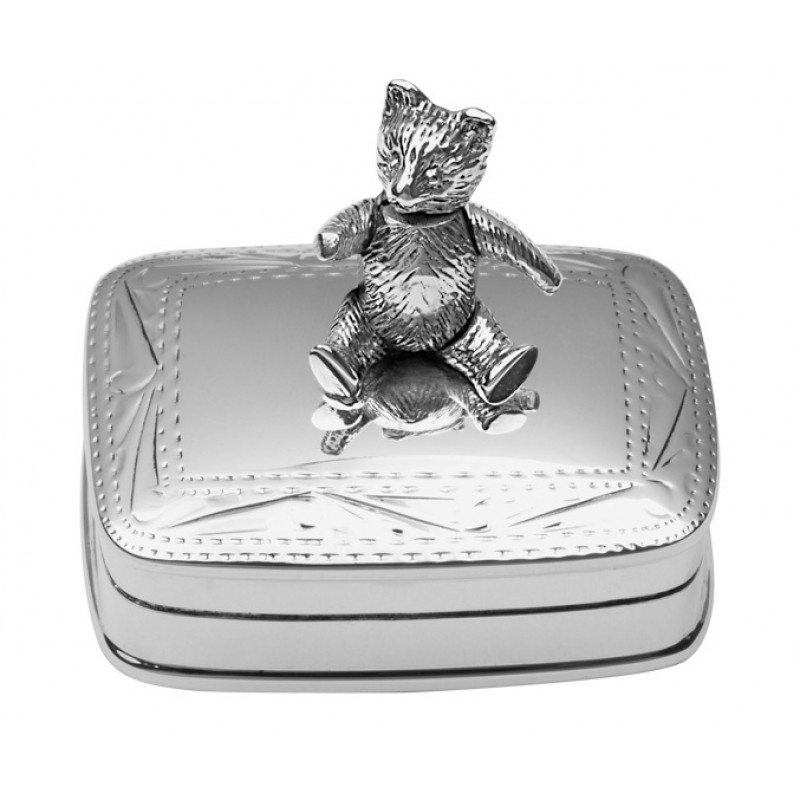 Sterling Silver Pill Box With Moving Teddy Bear