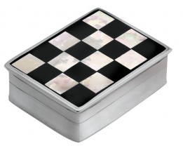 Sterling Silver Onyx And Mother Of Pearl Checked Pill Box