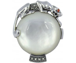 Mother Of Pearl Panther Ring Sterling Silver