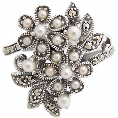 Floral Ring With Pearl And Marcasite Sterling Silver