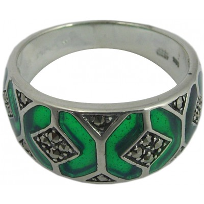 Ring With Green Enamel And Marcasite Sterling Silver