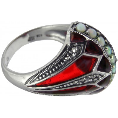 Elizabethan Style Ring With Red Enamel, Opal And Marcasite Sterling Silver
