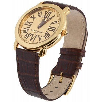 Gold Plated Sterling Silver (Vermeil) Watch With Leather Strap