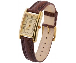 Gold Plated Sterling Silver (Vermeil) Ladies Watch With Brown Leather Strap
