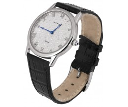 Diamond Effect Watch With Leather Strap Sterling Silver