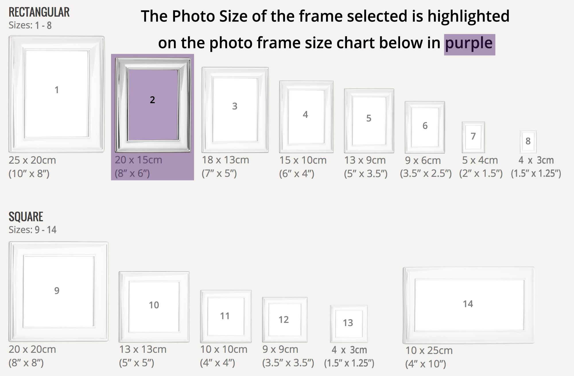 Rectangular Sterling Silver Photo Frame Size 2 - Holds Photo Size 20 ...